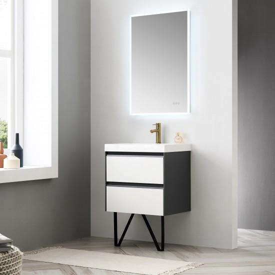 Berlin – 24 Inch Vanity – Glossy White & Glossy Grey