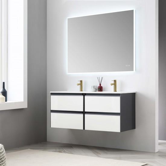 Berlin – 48 Inch Vanity – Glossy White & Glossy Grey