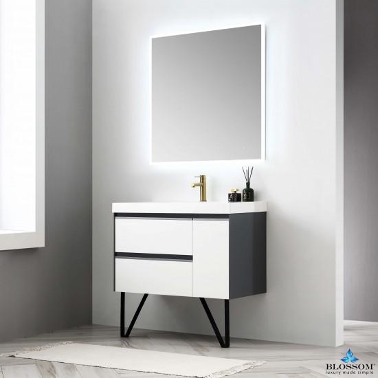 Blossom Berlin – 36 Inch Vanity – Glossy White & Glossy Grey