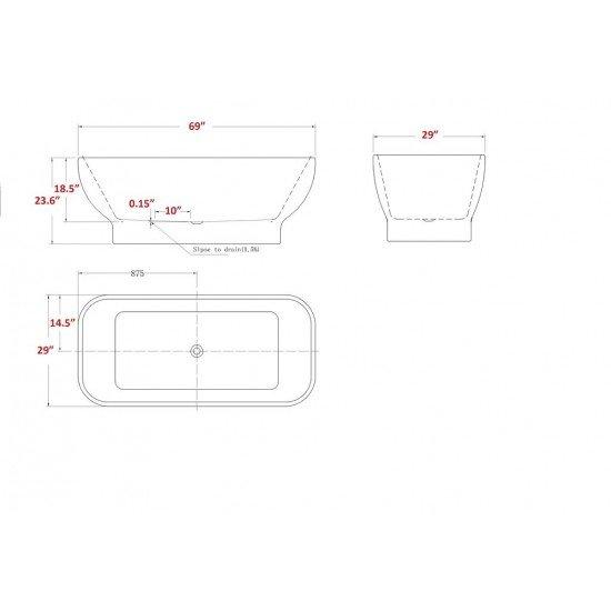 "FREESTANDING TUB ""ALMERIA"" 69"" x 29"" x 23.6"" AFT-9581-WH"