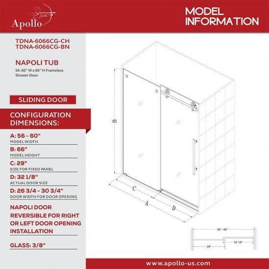 NAPOLI FRAMELESS TUB DOOR-NEW DEV