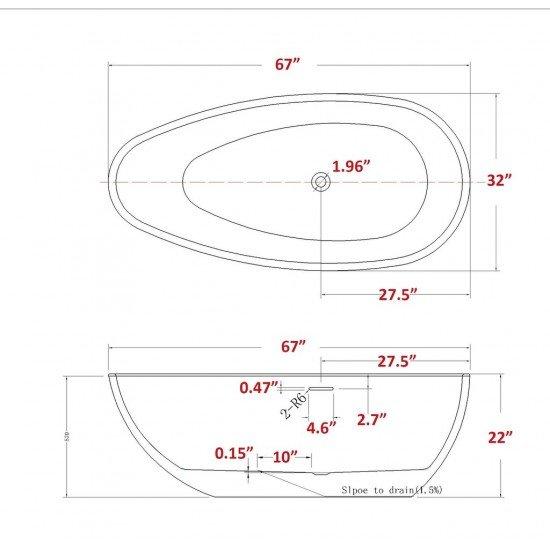"FREESTANDING TUB ""VERSAILLES"" 67"" x 31.5"" x 22"" AFT-3981-WH"