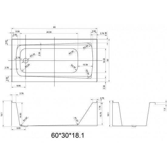 """BATH TUB """"AMALFI"""" 60"""" x 30"""" x 18"""", ATAM-6030-WH-RT"""