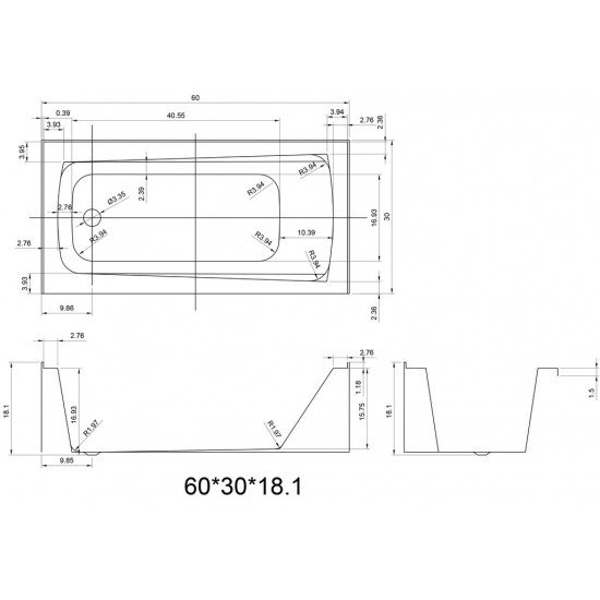 """BATH TUB """"AMALFI"""" 60"""" x 30"""" x 18"""", ATAM-6030-WH-LT"""