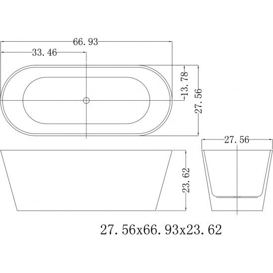 "FREESTANDING TUB ""MONARCH"" 67"" x 27.5"" x 23.6"" AFT-1981-WH"