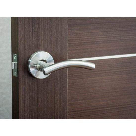 Nova Curve Interior Door Lever in Brushed Stainless Steel