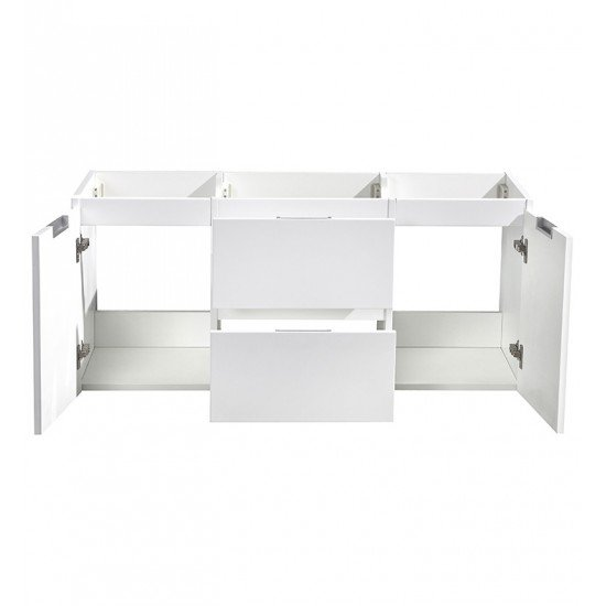 "Fresca FCB8348WH-D Valencia 48"" Glossy White Wall Hung Double Sink Modern Bathroom Cabinet"
