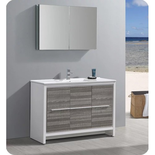 Fresca FVNHA Allier Rio Ash Gray Single Sink Modern Bathroom - Bathroom vanity and medicine cabinet
