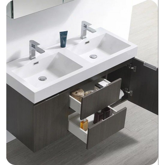 "Fresca FCB8348GO-D-I Valencia 48"" Gray Oak Wall Hung Double Sink Modern Bathroom Vanity"