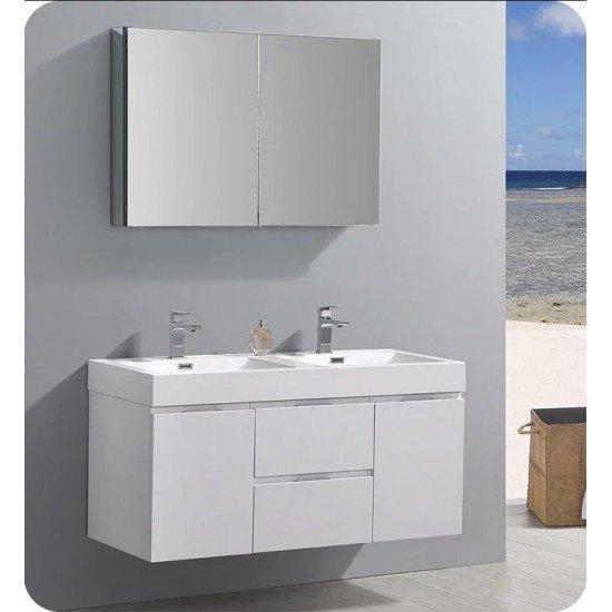 "Fresca FCB8348WH-D-I Valencia 48"" Glossy White Wall Hung Double Sink Modern Bathroom Vanity"
