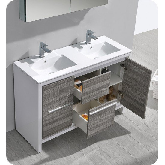 """Fresca FCB8148HA-D-I Allier Rio 48"""" Ash Gray Double Sink Modern Bathroom Vanity with Sink"""