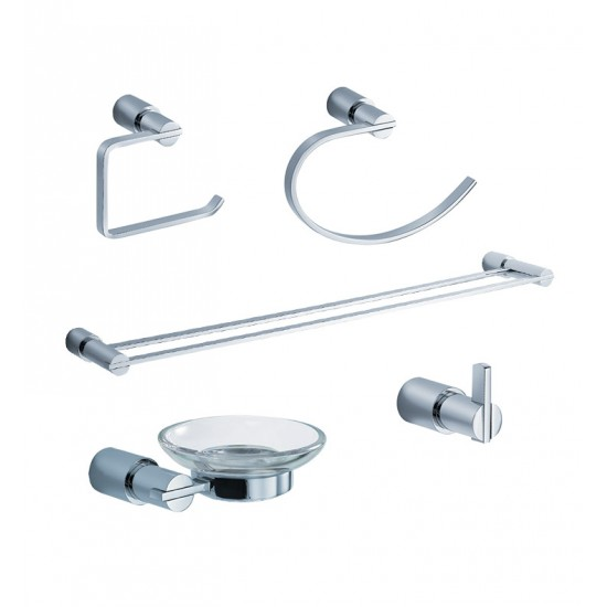 Fresca FAC0100-D Magnifico 5 Piece Bathroom Accessory Set in Chrome with Double Towel Bar