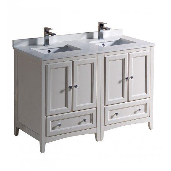 "Fresca FCB20-2424AW Oxford 48"" Antique White Traditional Double Sink Bathroom Cabinets"