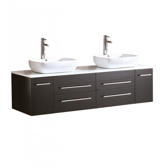 "Fresca FCB6119ES Bellezza 59"" Espresso Modern Double Vessel Sink Cabinet"