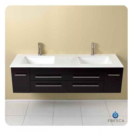 "Fresca FCB6119ES-UNS Bellezza 59"" Espresso Modern Double Vessel Sink Cabinet"