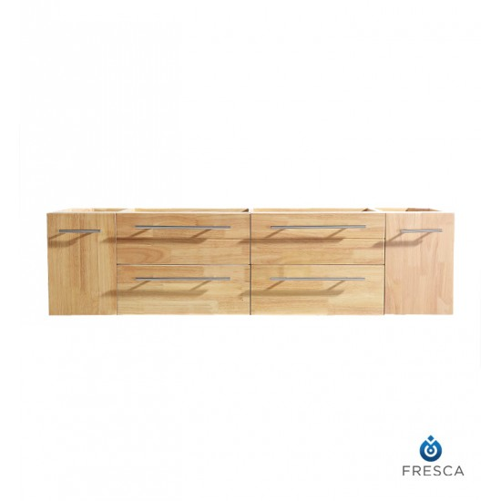 "Fresca FCB6119NW Bellezza 59"" Natural Wood Modern Double Sink Cabinet"