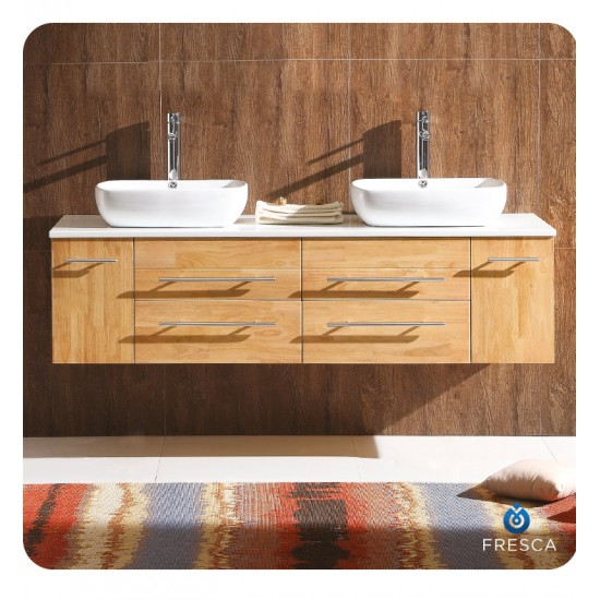 """Fresca FCB6119NW-CWH-V Bellezza 59"""" Natural Wood Modern Double Sink Cabinet with Top & Vessel Sinks"""