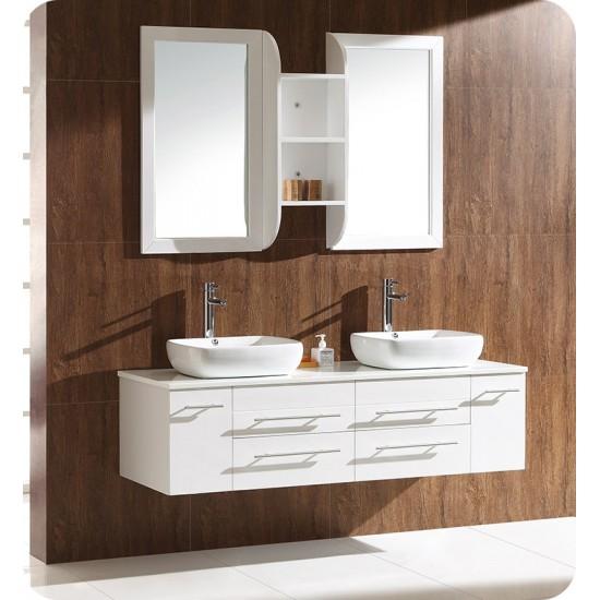 """Fresca FCB6119WH Bellezza 59"""" White Modern Double Vessel Sink Cabinet"""