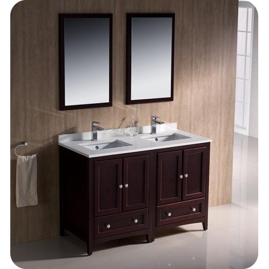 "Fresca FCB20-2424MH Oxford 48"" Mahogany Traditional Double Sink Bathroom Cabinets"