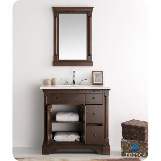 "Fresca FVN2236AC Kingston 37"" Antique Coffee Traditional Bathroom Vanity with Mirror"