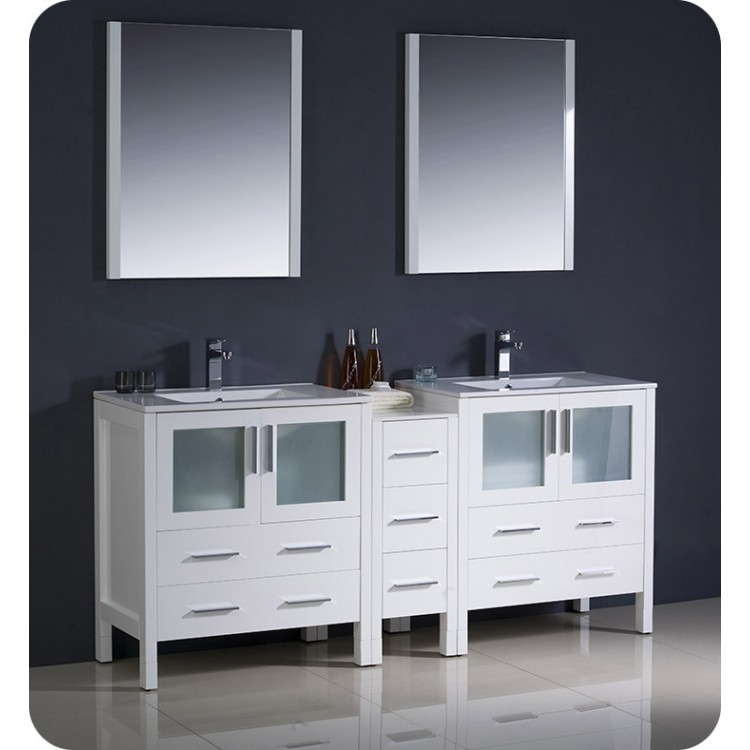 Tremendous Fresca Fvn62 301230Wh Uns Torino 72 Double Sink Modern Bathroom Vanity With Side Cabinet And Integrated Sinks In White Home Remodeling Inspirations Genioncuboardxyz