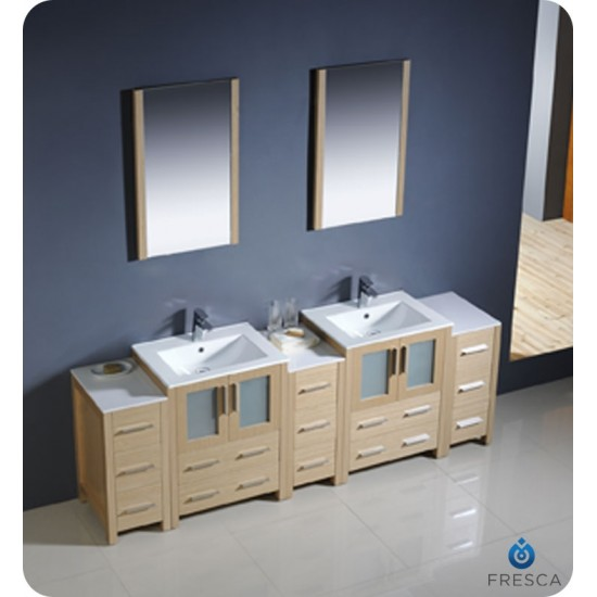 Blossom V8001-84S-01 Sydney 84 Inch Double Sink Modern Vanity with Side Cabinet
