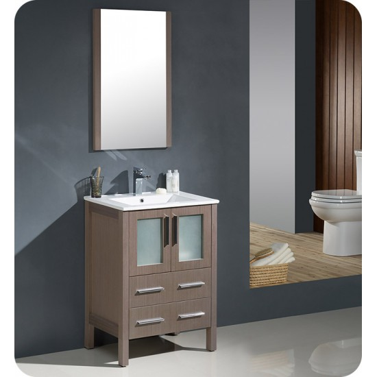 "Fresca FVN6224GO-UNS Torino 24"" Modern Bathroom Vanity with Integrated Sink in Gray Oak"