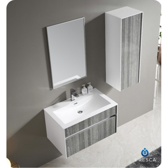 """Fresca FVN8508HA 32"""" Wall Mount High Gloss Modern Bathroom Vanity with Mirror and Faucet Ash Gray"""