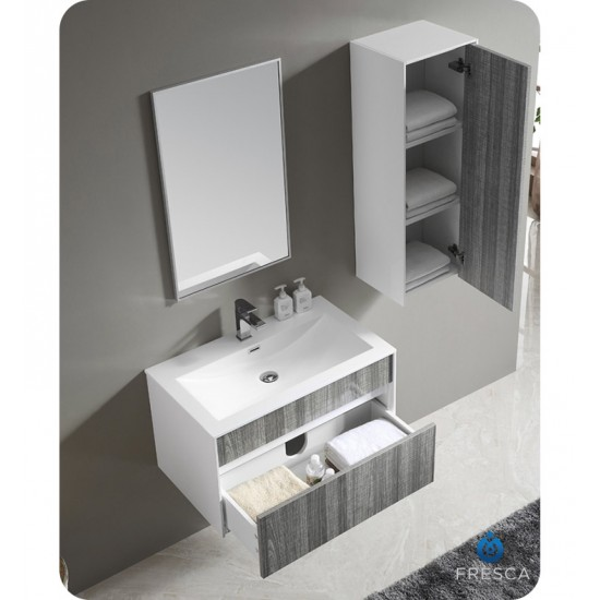 "Fresca FVN8508HA 32"" Wall Mount High Gloss Modern Bathroom Vanity with Mirror and Faucet Ash Gray"