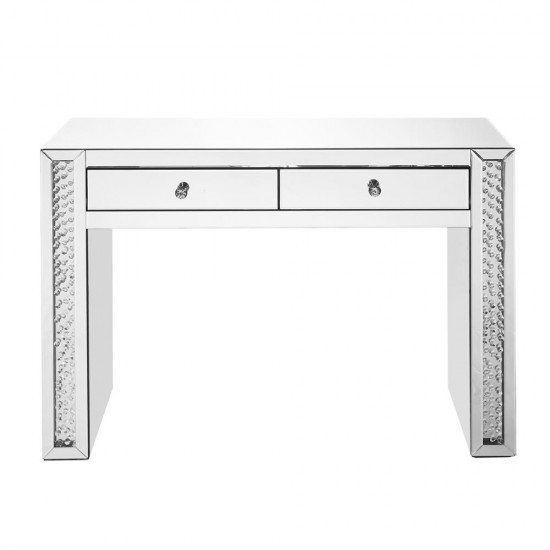 Elegant Decor MF91017 Modern 47 inch Rectangle Crystal Vanity Table in Clear Mirror Finish