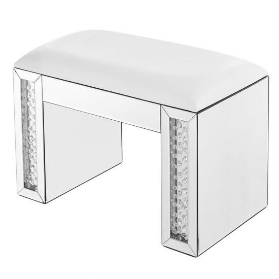 Elegant Decor MF91018 Modern 26 inch Crystal Vanity Leather stool in Clear Mirror Finish