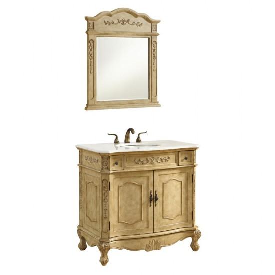 Elegant Decor VF10136AB Danville 36 in. Single Bathroom Vanity set in Antique Beige