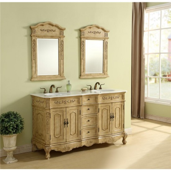 Elegant Decor VF10160DAB Danville 60 in. Double Bathroom Vanity set in Antique Beige