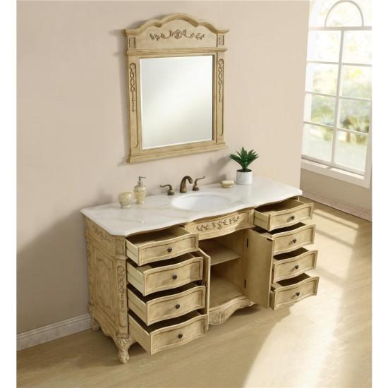 Elegant Decor VF101S60AB Danville 60 in. Single Bathroom Vanity set in Antique Beige