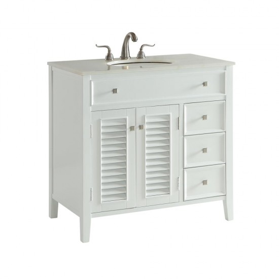 Elegant Decor VF10436WH Cape Cod 36 in. Single Bathroom Vanity set in White