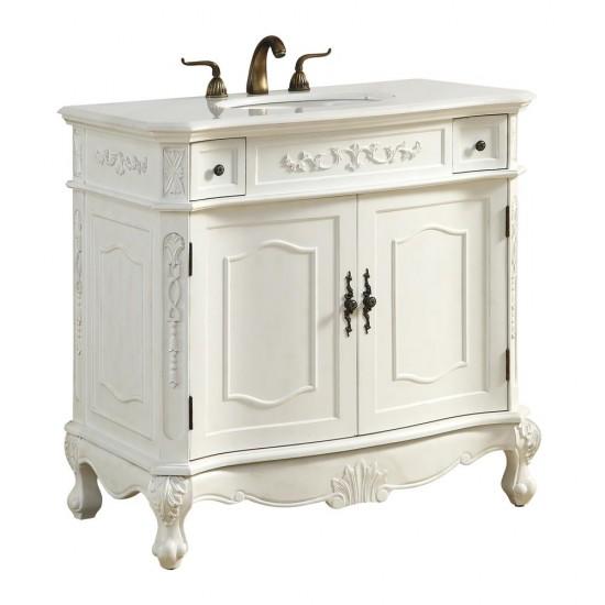 Elegant Decor VF10636AW Danville 36 in. Single Bathroom Vanity set in Antique White