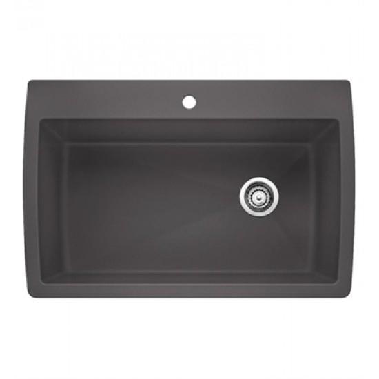 "Blanco 440193 Diamond 32 1/2"" Single Bowl Undermount Silgranit Kitchen Sink in Metallic Gray"