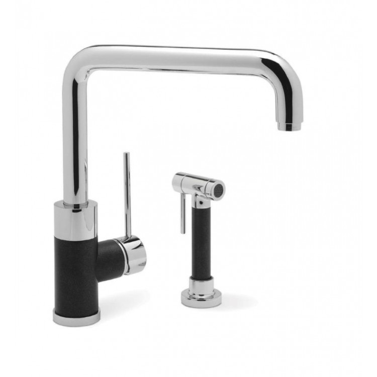 Charmant Blanco 440602 Purus I Single Handle Kitchen Faucet With Side Spray In  Anthracite/Chrome