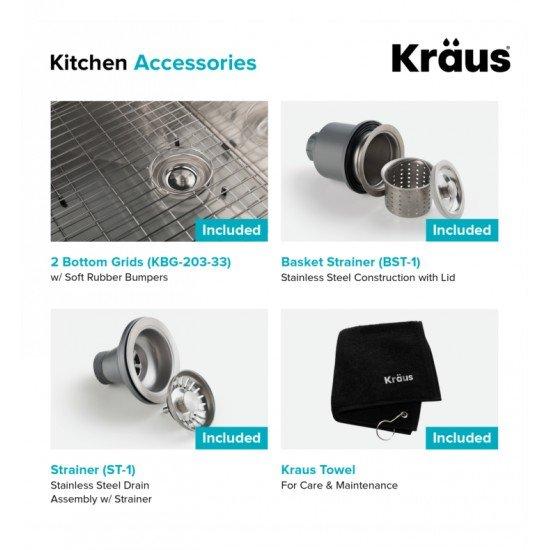 "Kraus KHF203-33 32 7/8"" Double Bowl Farmhouse/Apron Front Stainless Steel Rectangular Kitchen Sink"