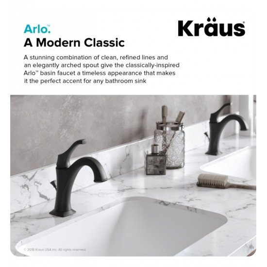 """Kraus KBF-1201 Arlo 8"""" One Hole Bathroom Sink Faucet with Lift Rod Drain and Deck Plate"""
