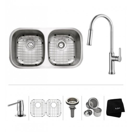"""Kraus KBU22-1630-42 32 1/4"""" Double Bowl Undermount Stainless Steel Kitchen Sink with Nola Pull Down Kitchen Faucet and Soap Dispenser"""
