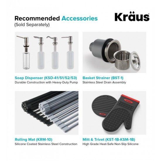 "Kraus KHU111-25 Standart Pro 25"" Single Bowl Undermount Stainless Steel Rectangular Kitchen Sink"