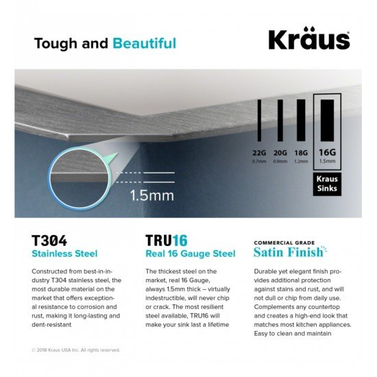"Kraus KHU32 Pax 30 1/2"" Single Bowl Undermount Stainless Steel Rectangular Kitchen Sink"