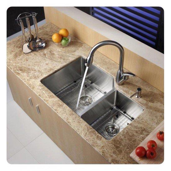 """Kraus KHU123-32 32"""" Double Bowl Undermount Stainless Steel Rectangular Kitchen Sink"""