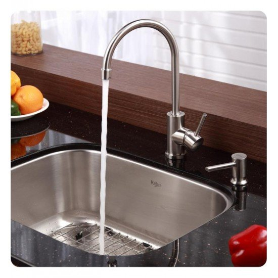 """Kraus KBU12-KPF2160-SD20 23 1/2"""" Single Bowl Undermount Stainless Steel Kitchen Sink with Bar Faucet and Soap Dispenser"""