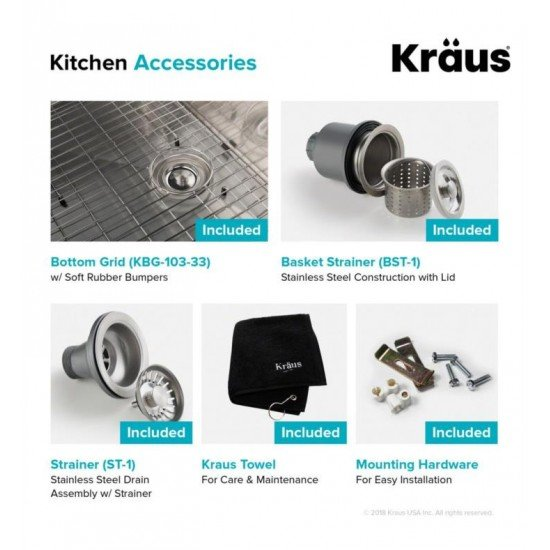 "Kraus KHT302-33 Standart Pro 33"" Double Bowl Drop-In Stainless Steel Rectangular Kitchen Sink in Satin"