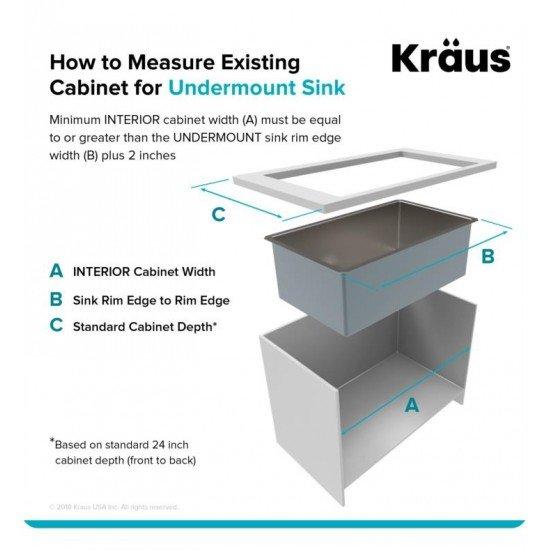 "Kraus KHU101-14 Standart Pro 14"" Single Bowl Undermount Stainless Steel Square/Rectangular Kitchen Sink"