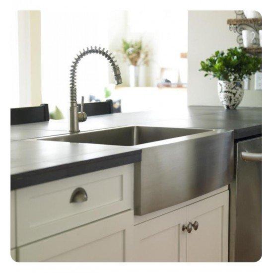"Kraus KHF200-36 35 7/8"" Single Bowl Farmhouse/Apron Front Stainless Steel Rectangular Kitchen Sink"