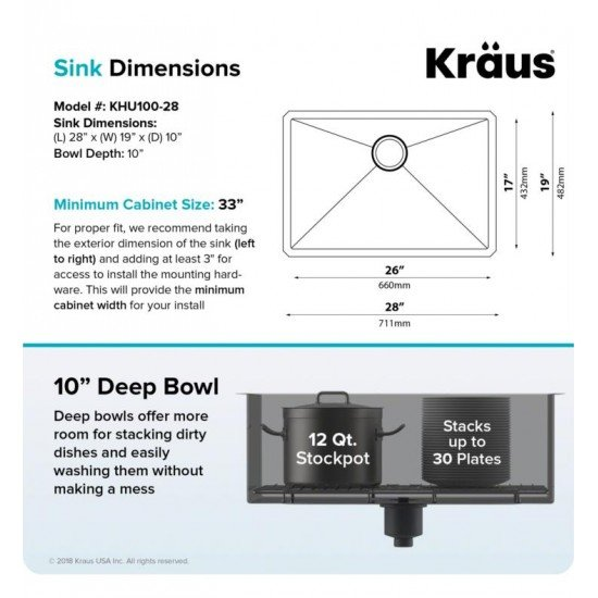 "Kraus KHU100-28 Standart Pro 28"" Single Bowl Undermount 16 Gauge Stainless Steel Kitchen Sink with Noisedefend Soundproofing"