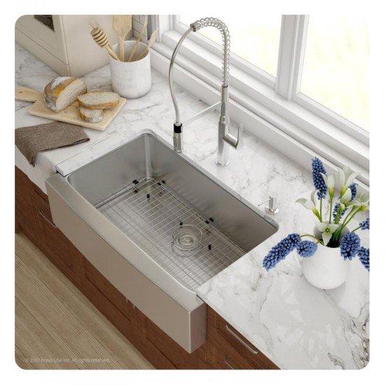 "Kraus KHF200-33 32 7/8"" Single Bowl Farmhouse/Apron Front Stainless Steel Rectangular Kitchen Sink"